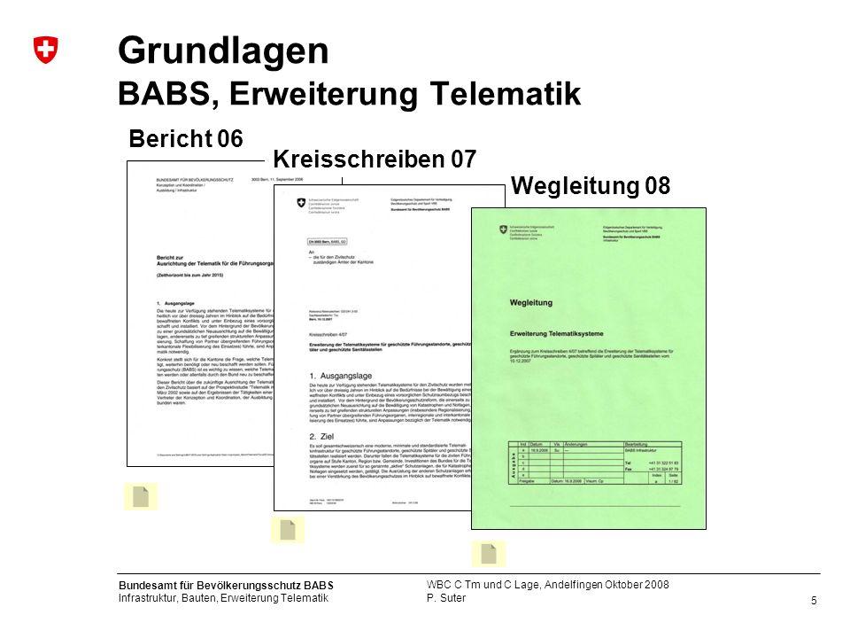 5 Bundesamt für Bevölkerungsschutz BABS Infrastruktur, Bauten, Erweiterung Telematik P. Suter WBC C Tm und C Lage, Andelfingen Oktober 2008 Grundlagen