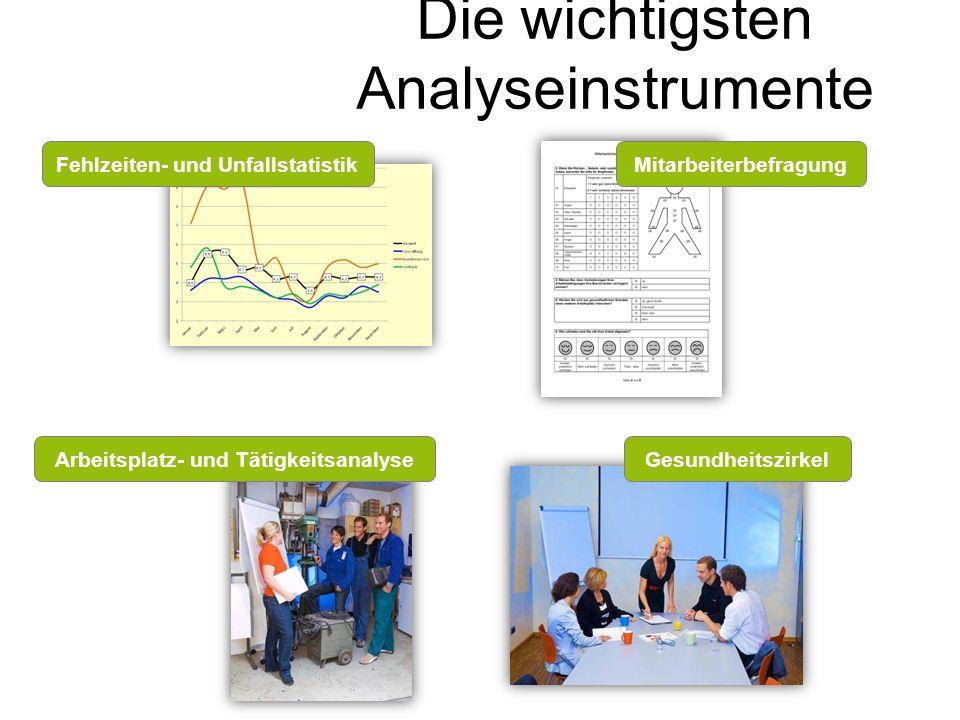 Die wichtigsten Analyseinstrumente Fehlzeiten- und UnfallstatistikMitarbeiterbefragung Arbeitsplatz- und TätigkeitsanalyseGesundheitszirkel