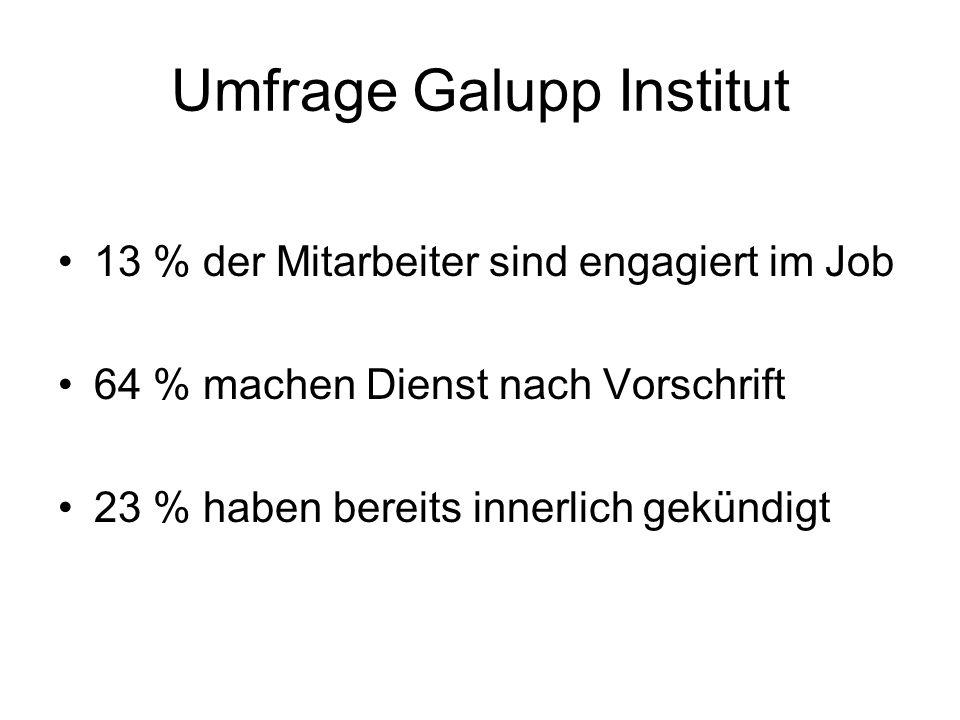 Umfrage Galupp Institut Ein Mitarbeiter mit hoher emotionaler Bindung zum Unternehmen, erwirtschaftet 68 % mehr Ertrag Ein Mitarbeiter der Dienst nach Vorschrift macht, erwirtschaftet ca.