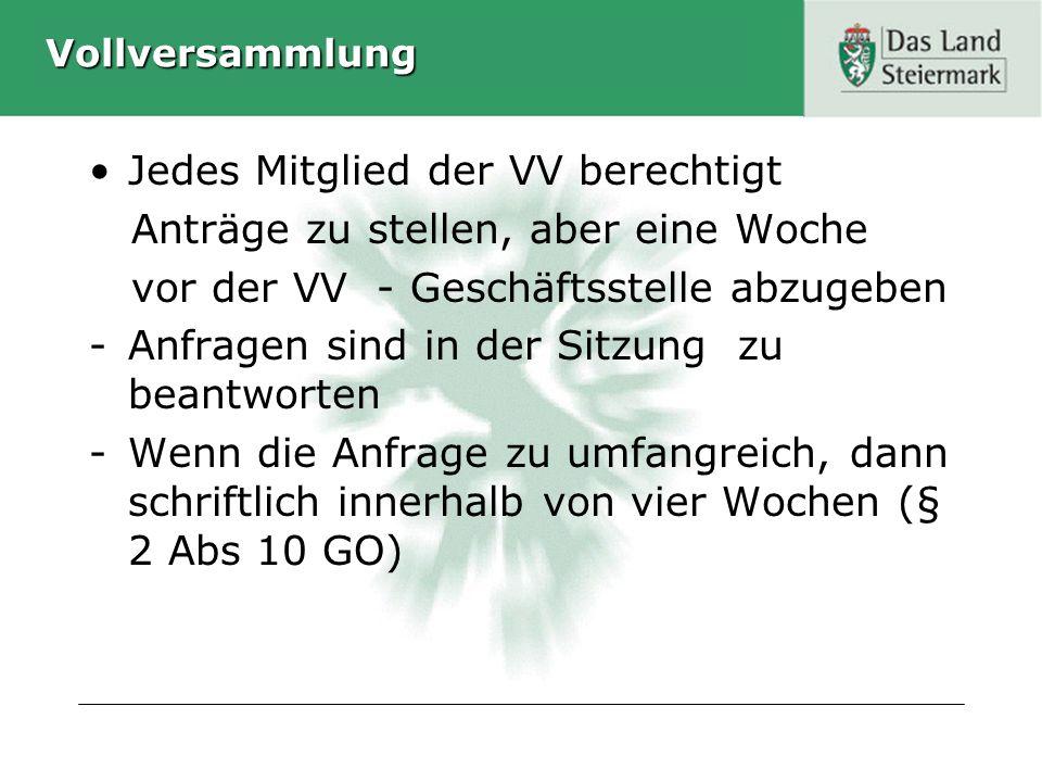 Vollversammlung Jedes Mitglied der VV berechtigt Anträge zu stellen, aber eine Woche vor der VV - Geschäftsstelle abzugeben -Anfragen sind in der Sitz