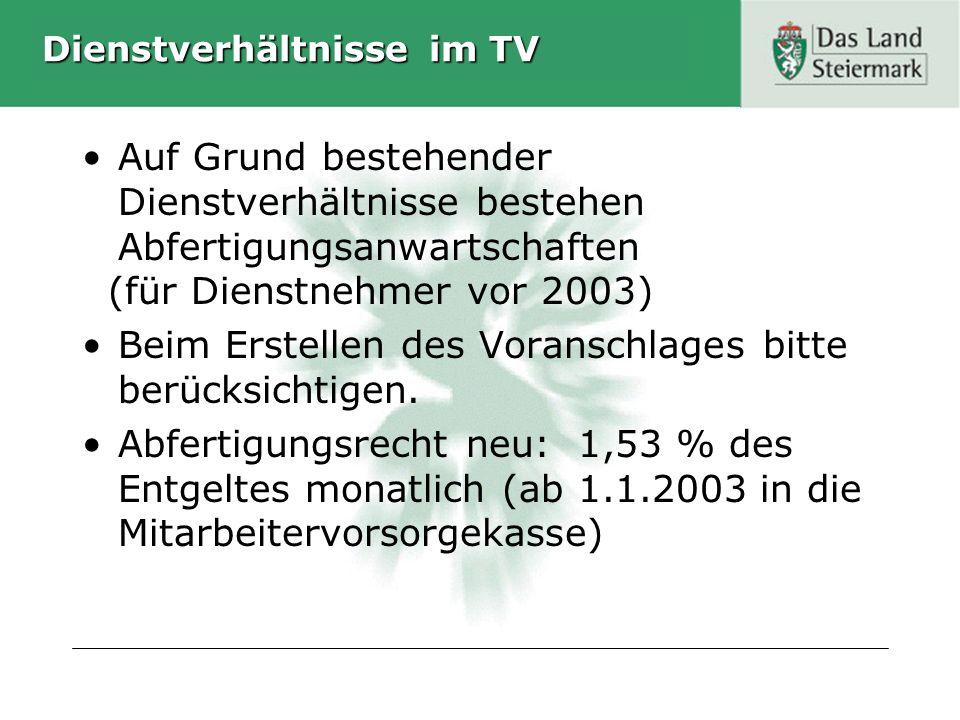 Dienstverhältnisse im TV Auf Grund bestehender Dienstverhältnisse bestehen Abfertigungsanwartschaften (für Dienstnehmer vor 2003) Beim Erstellen des V