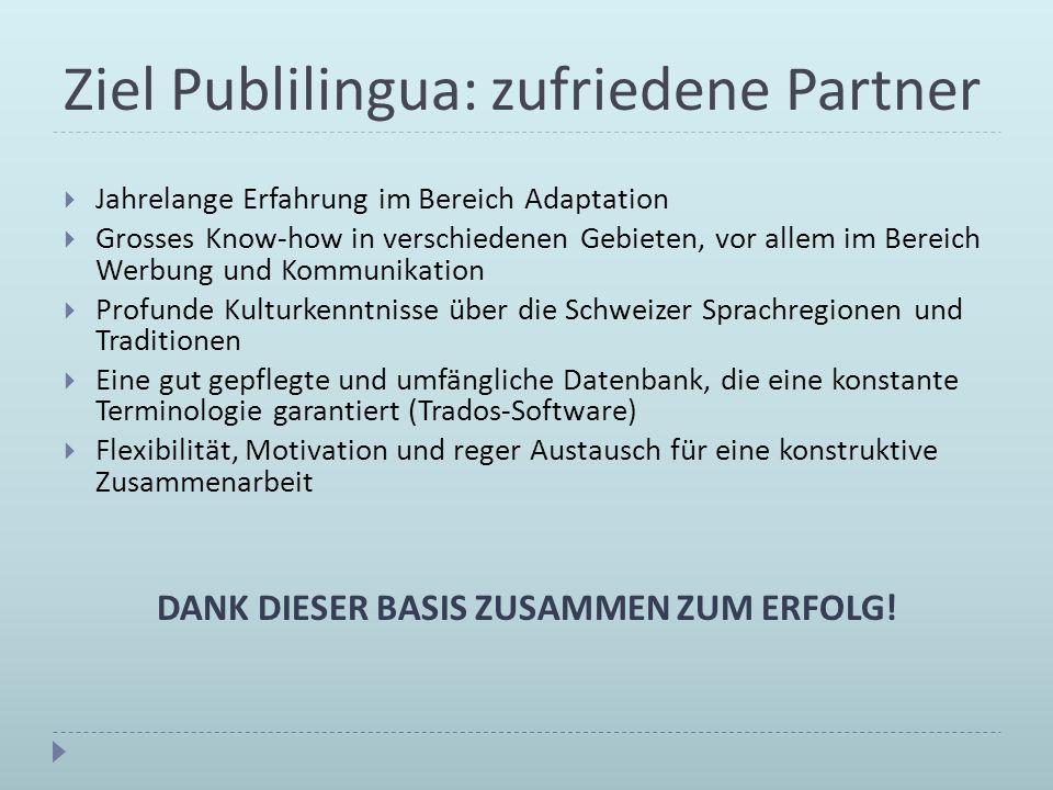 Ziel Publilingua: zufriedene Partner Jahrelange Erfahrung im Bereich Adaptation Grosses Know-how in verschiedenen Gebieten, vor allem im Bereich Werbu