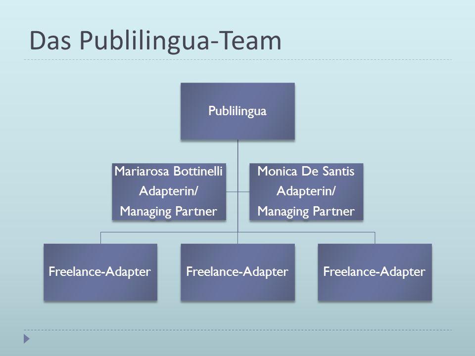 Das Publilingua-Team Publilingua Freelance-Adapter Mariarosa Bottinelli Adapterin/ Managing Partner Monica De Santis Adapterin/ Managing Partner