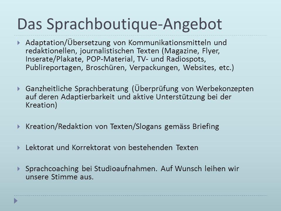 Das Sprachboutique-Angebot Adaptation/Übersetzung von Kommunikationsmitteln und redaktionellen, journalistischen Texten (Magazine, Flyer, Inserate/Pla