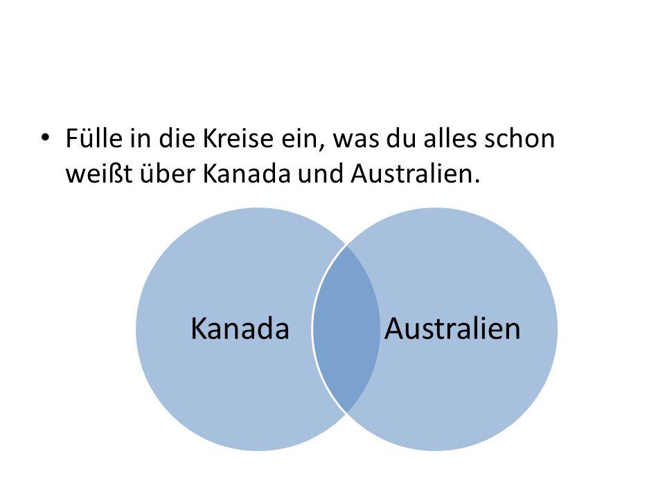 Fülle in die Kreise ein, was du alles schon weißt über Kanada und Australien. KanadaAustralien