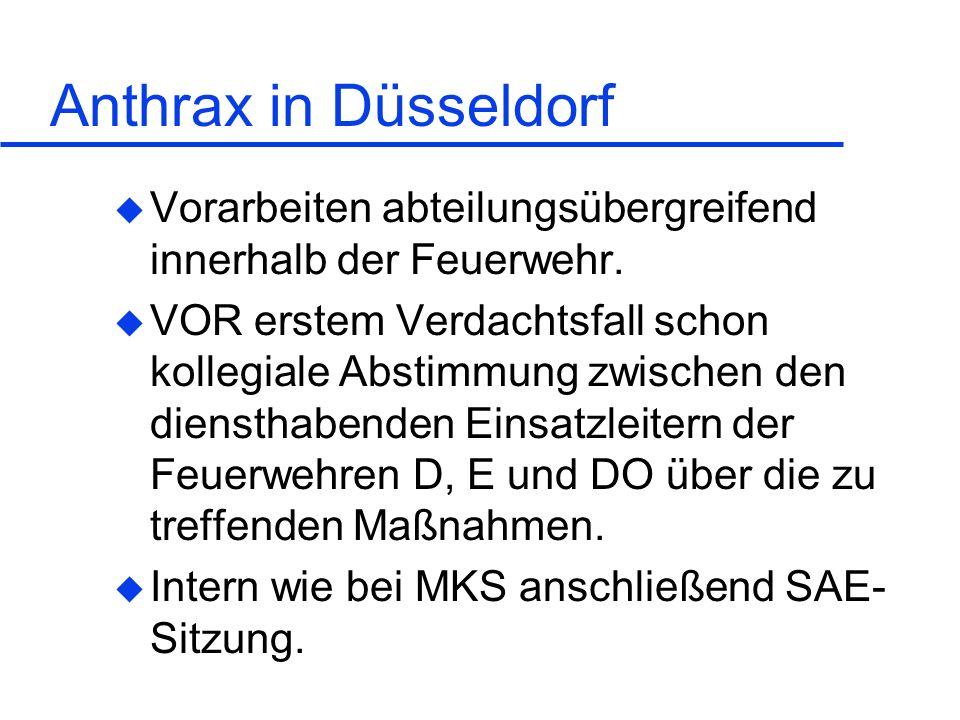 Anthrax in Düsseldorf u Vorarbeiten abteilungsübergreifend innerhalb der Feuerwehr. u VOR erstem Verdachtsfall schon kollegiale Abstimmung zwischen de