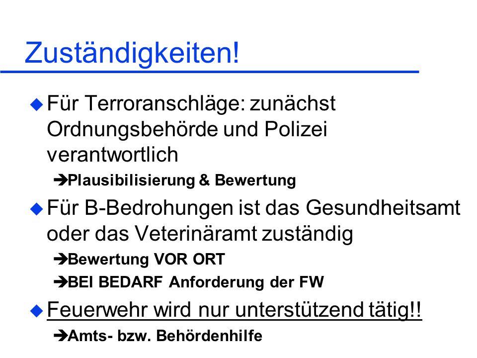 Zuständigkeiten! u Für Terroranschläge: zunächst Ordnungsbehörde und Polizei verantwortlich Plausibilisierung & Bewertung u Für B-Bedrohungen ist das