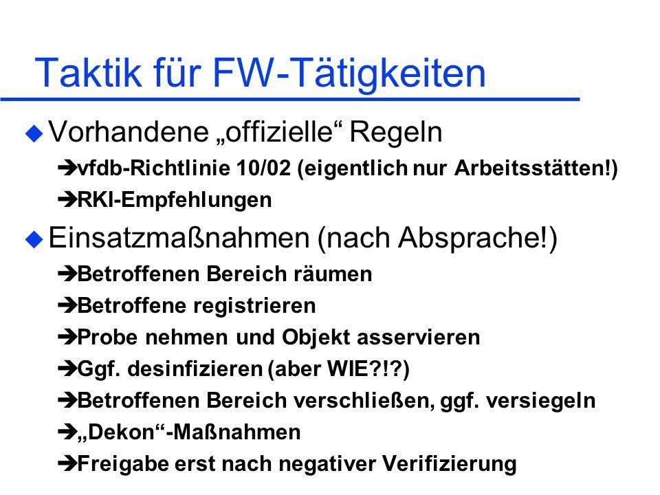 Taktik für FW-Tätigkeiten u Vorhandene offizielle Regeln vfdb-Richtlinie 10/02 (eigentlich nur Arbeitsstätten!) RKI-Empfehlungen u Einsatzmaßnahmen (n