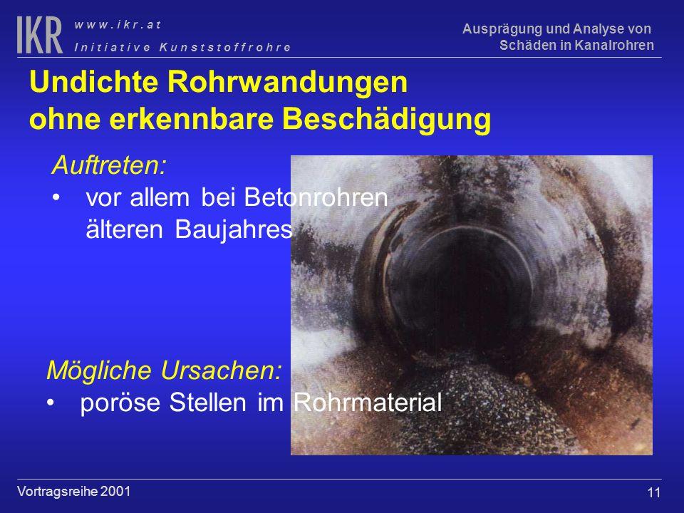 11 I n i t i a t i v e K u n s t s t o f f r o h r e w w w. i k r. a t Vortragsreihe 2001 Ausprägung und Analyse von Schäden in Kanalrohren Undichte R