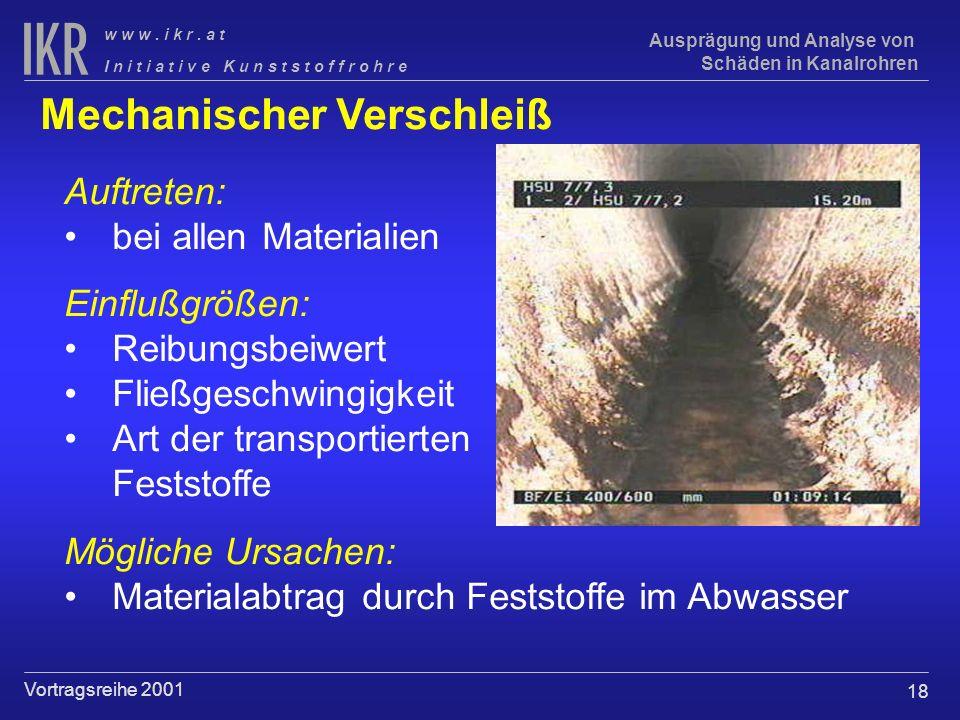 18 I n i t i a t i v e K u n s t s t o f f r o h r e w w w. i k r. a t Vortragsreihe 2001 Ausprägung und Analyse von Schäden in Kanalrohren Mechanisch