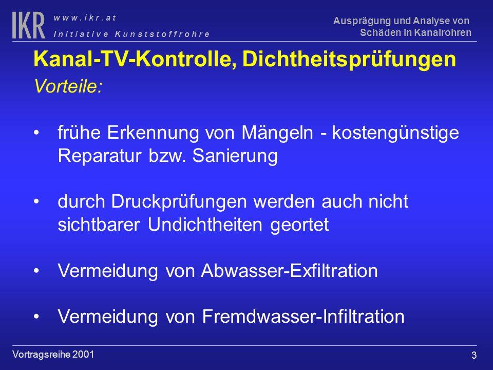 3 I n i t i a t i v e K u n s t s t o f f r o h r e w w w. i k r. a t Vortragsreihe 2001 Ausprägung und Analyse von Schäden in Kanalrohren Kanal-TV-Ko