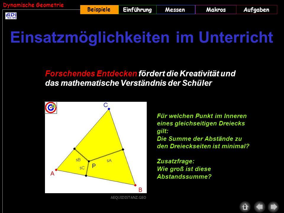 Dynamische Geometrie Beispiele MessenMakrosAufgabenEinführung Forschendes Entdecken fördert die Kreativität und das mathematische Verständnis der Schü