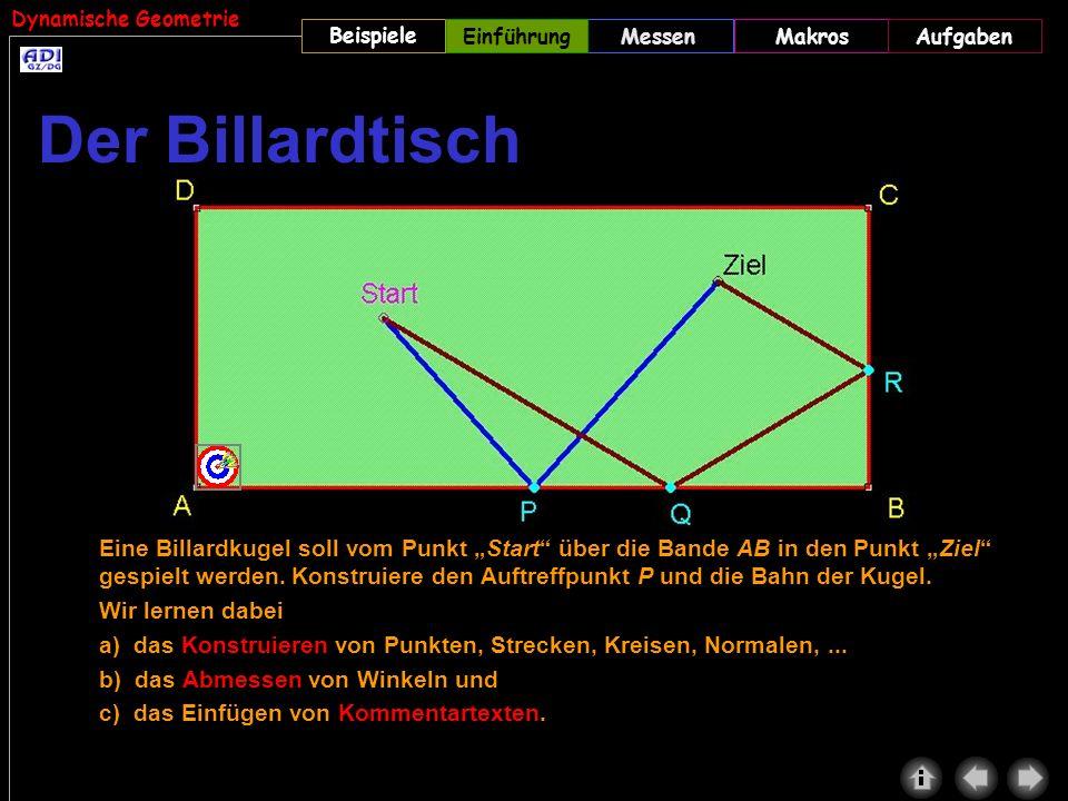 Dynamische Geometrie Beispiele MessenMakrosAufgabenEinführung Eine Billardkugel soll vom Punkt Start über die Bande AB in den Punkt Ziel gespielt werd