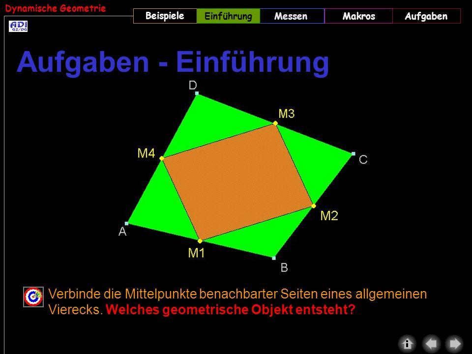 Dynamische Geometrie Beispiele MessenMakrosAufgabenEinführung Verbinde die Mittelpunkte benachbarter Seiten eines allgemeinen Vierecks. Welches geomet