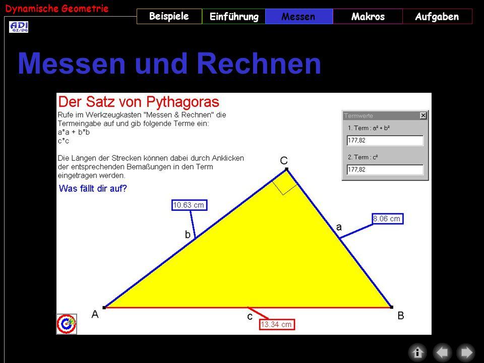 Dynamische Geometrie Beispiele MessenMakrosAufgabenEinführungMessen Messen und Rechnen