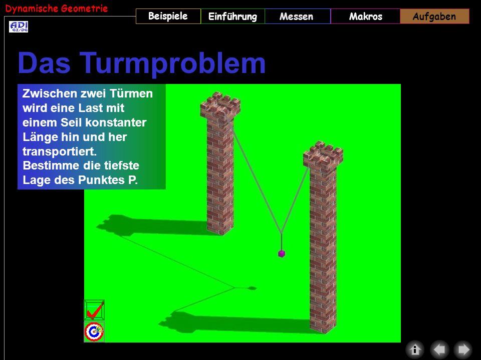 Dynamische Geometrie Beispiele MessenMakrosAufgabenEinführung Zwischen zwei Türmen wird eine Last mit einem Seil konstanter Länge hin und her transpor