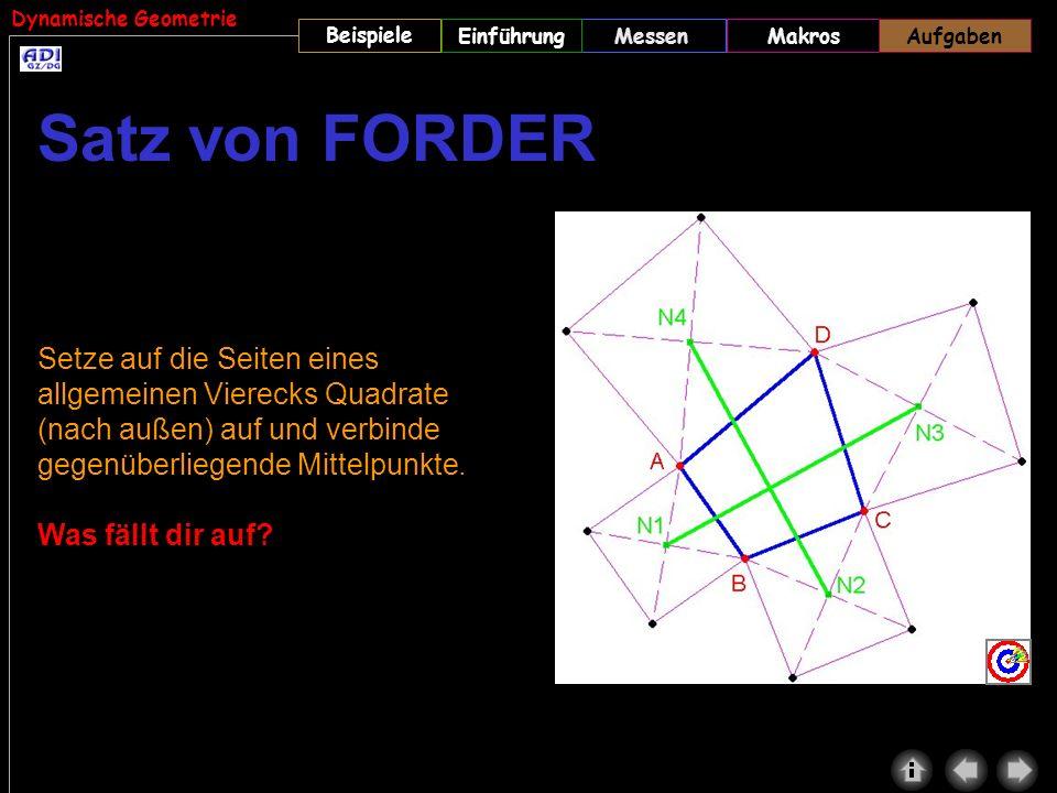 Dynamische Geometrie Beispiele MessenMakrosAufgabenEinführungAufgaben Setze auf die Seiten eines allgemeinen Vierecks Quadrate (nach außen) auf und ve
