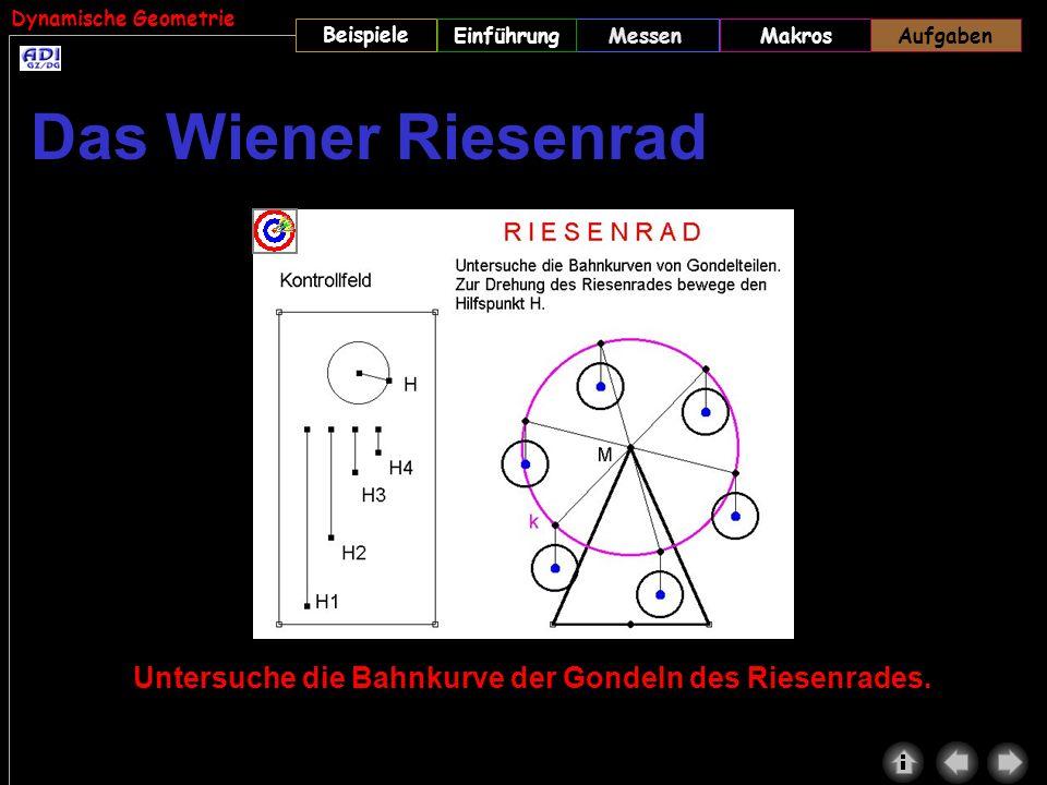 Dynamische Geometrie Beispiele MessenMakrosAufgabenEinführungAufgaben Untersuche die Bahnkurve der Gondeln des Riesenrades. Das Wiener Riesenrad