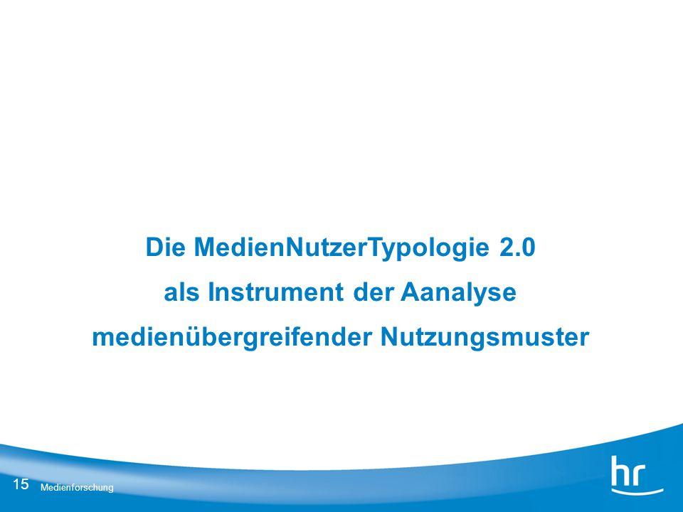 15 Medienforschung Die MedienNutzerTypologie 2.0 als Instrument der Aanalyse medienübergreifender Nutzungsmuster
