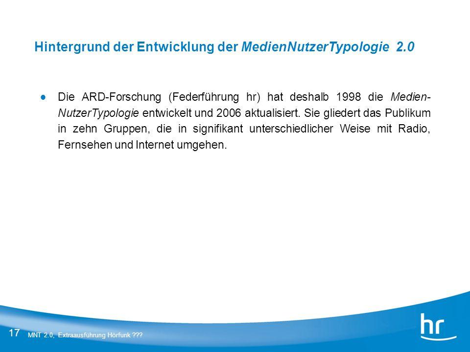 17 MNT 2.0, Extraausführung Hörfunk ??? Die ARD-Forschung (Federführung hr) hat deshalb 1998 die Medien- NutzerTypologie entwickelt und 2006 aktualisi