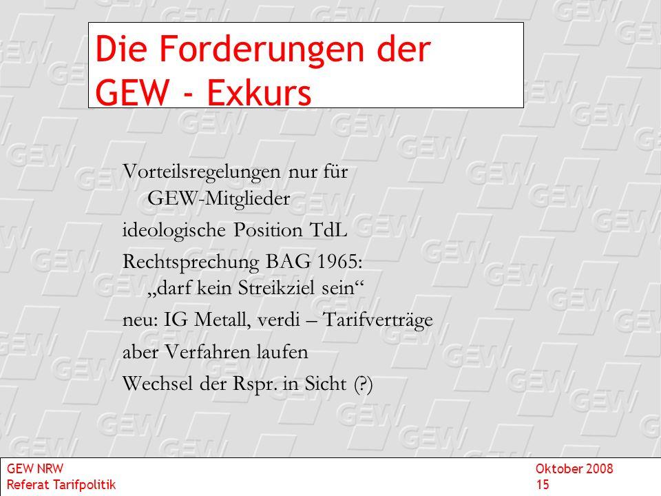 Die Forderungen der GEW - Exkurs Vorteilsregelungen nur für GEW-Mitglieder ideologische Position TdL Rechtsprechung BAG 1965: darf kein Streikziel sei