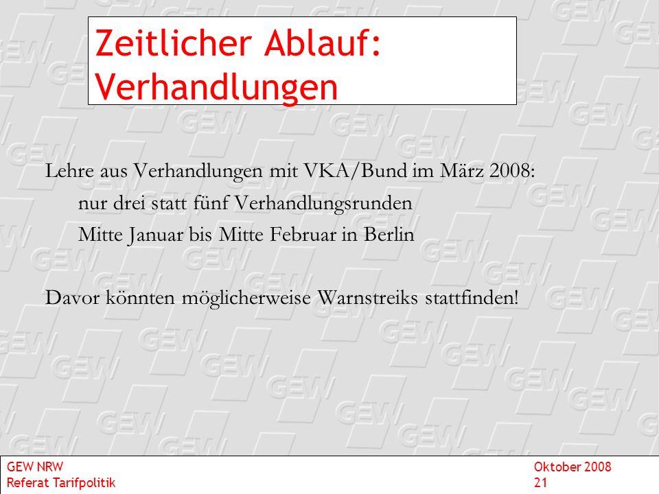 Zeitlicher Ablauf: Verhandlungen Lehre aus Verhandlungen mit VKA/Bund im März 2008: nur drei statt fünf Verhandlungsrunden Mitte Januar bis Mitte Febr
