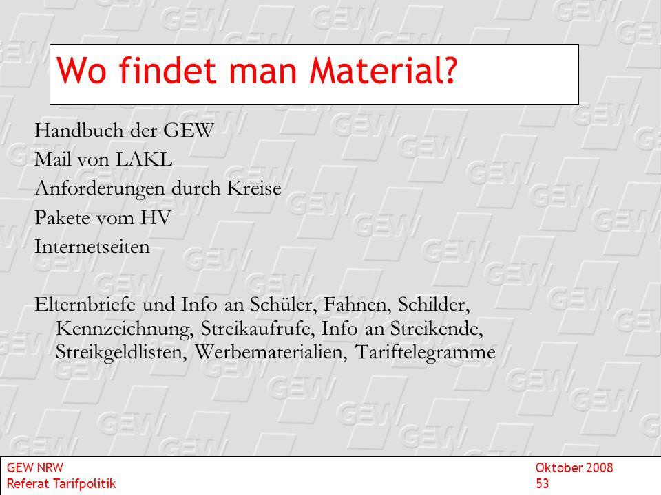 Wo findet man Material? Handbuch der GEW Mail von LAKL Anforderungen durch Kreise Pakete vom HV Internetseiten Elternbriefe und Info an Schüler, Fahne