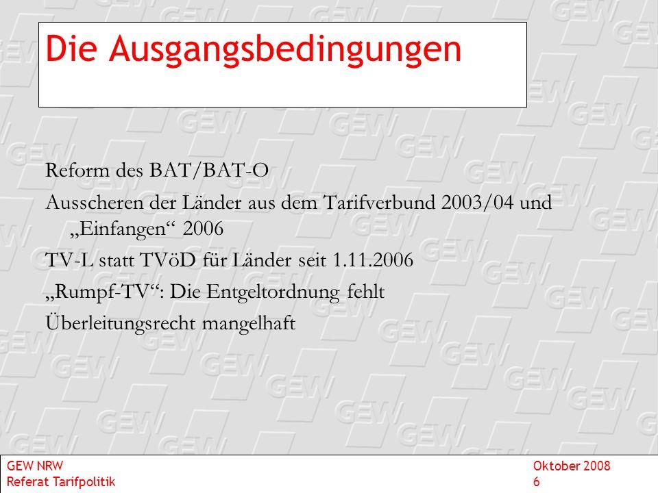Die Ausgangsbedingungen Reform des BAT/BAT-O Ausscheren der Länder aus dem Tarifverbund 2003/04 und Einfangen 2006 TV-L statt TVöD für Länder seit 1.1