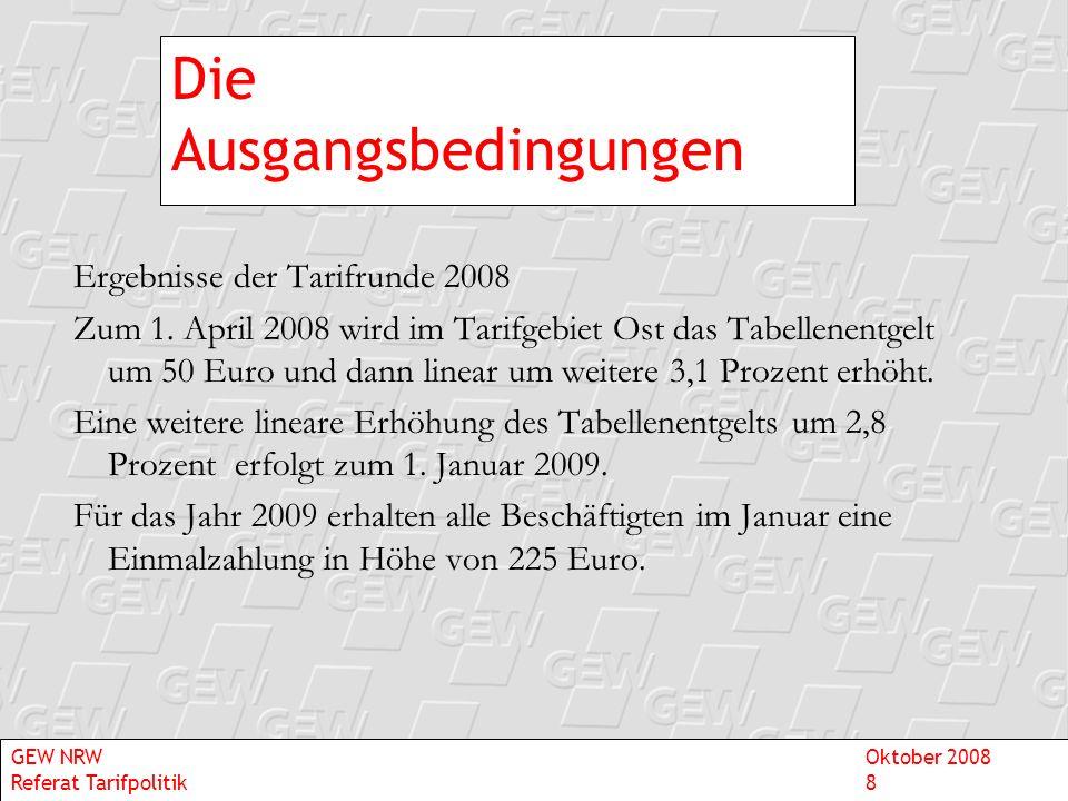 Die Ausgangsbedingungen Ergebnisse der Tarifrunde 2008 Zum 1. April 2008 wird im Tarifgebiet Ost das Tabellenentgelt um 50 Euro und dann linear um wei