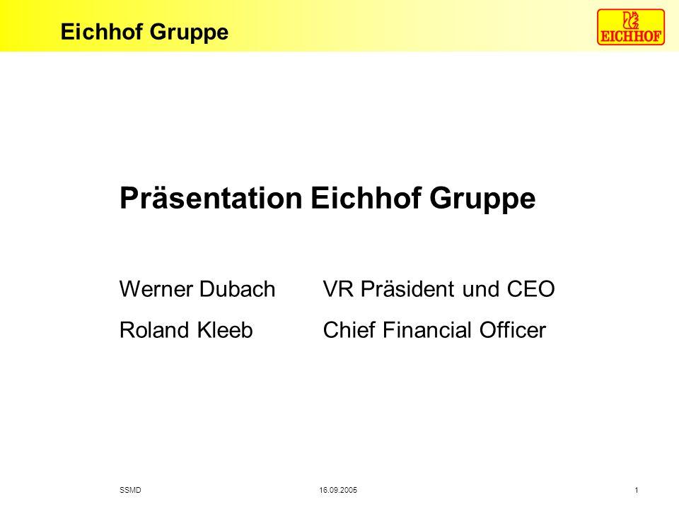 Eichhof Gruppe SSMD1 16.09.2005 Präsentation Eichhof Gruppe Werner Dubach VR Präsident und CEO Roland Kleeb Chief Financial Officer