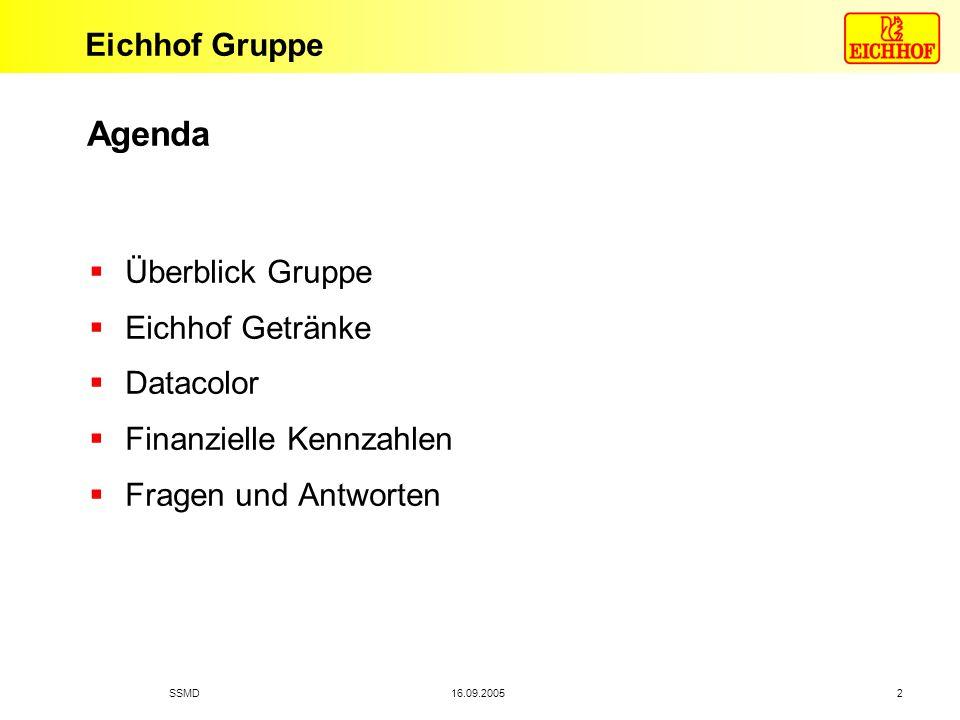 Eichhof Gruppe 16.09.2005SSMD 2 Agenda Überblick Gruppe Eichhof Getränke Datacolor Finanzielle Kennzahlen Fragen und Antworten