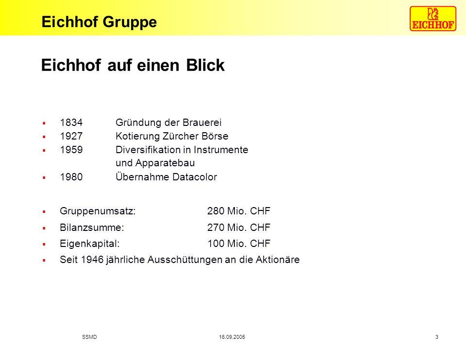 Eichhof Gruppe 16.09.2005SSMD 3 Eichhof auf einen Blick 1834 Gründung der Brauerei 1927 Kotierung Zürcher Börse 1959 Diversifikation in Instrumente un
