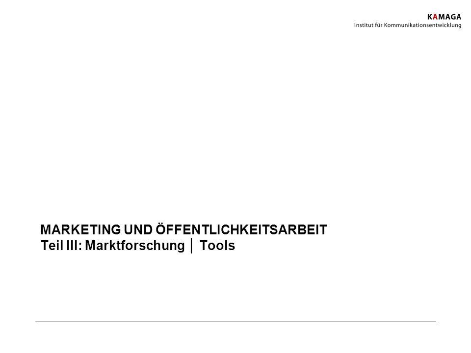 MARKETING UND ÖFFENTLICHKEITSARBEIT Teil III: Marktforschung Tools