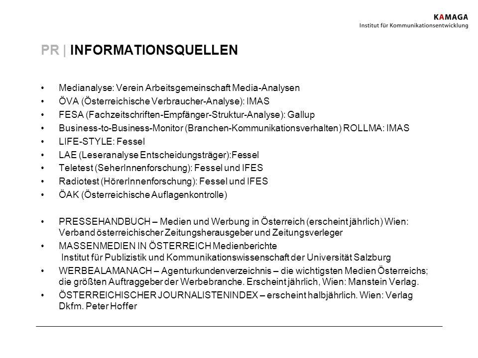 PR | INFORMATIONSQUELLEN Medianalyse: Verein Arbeitsgemeinschaft Media-Analysen ÖVA (Österreichische Verbraucher-Analyse): IMAS FESA (Fachzeitschrifte