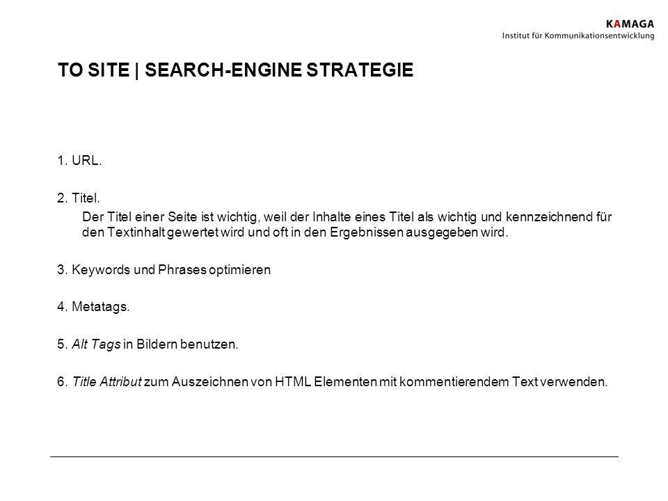 TO SITE | SEARCH-ENGINE STRATEGIE 1. URL. 2. Titel. Der Titel einer Seite ist wichtig, weil der Inhalte eines Titel als wichtig und kennzeichnend für