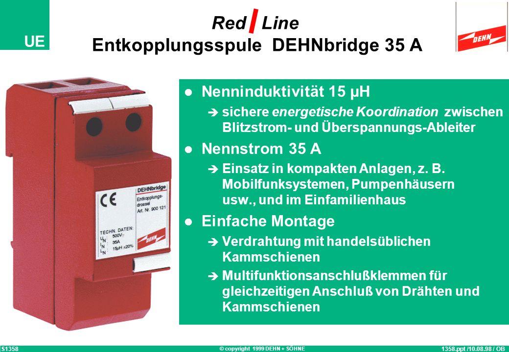 © copyright 1999 DEHN + SÖHNE UE energetische Koordination Blitzstrom-Ableiter / Überspannungs-Ableiter 1004-c.ppt / 14.06.99 / OB S1004 L1 L2 L3 N Bl