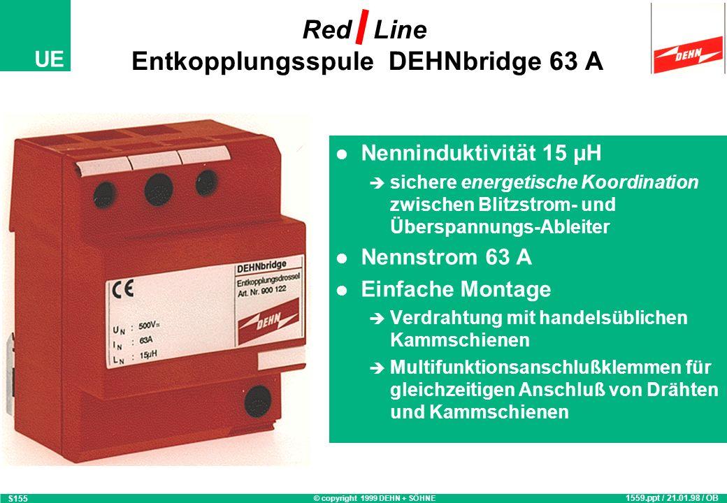 © copyright 1999 DEHN + SÖHNE UE Nenninduktivität 15 µH sichere energetische Koordination zwischen Blitzstrom- und Überspannungs-Ableiter Nennstrom 35