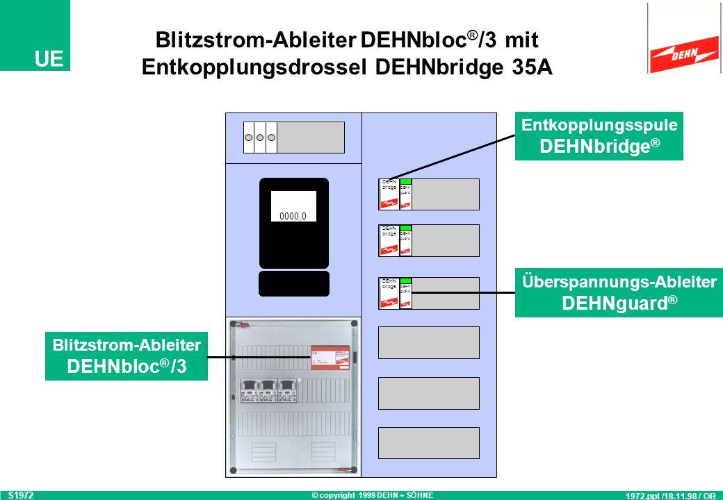 © copyright 1999 DEHN + SÖHNE UE Blitzstromtragfähiger Überspannungsschutz DEHNport-DEHNbridge-DEHNguard 980.ppt / 21.05.99 / CG S980_a L1 L2 L3 PEN L
