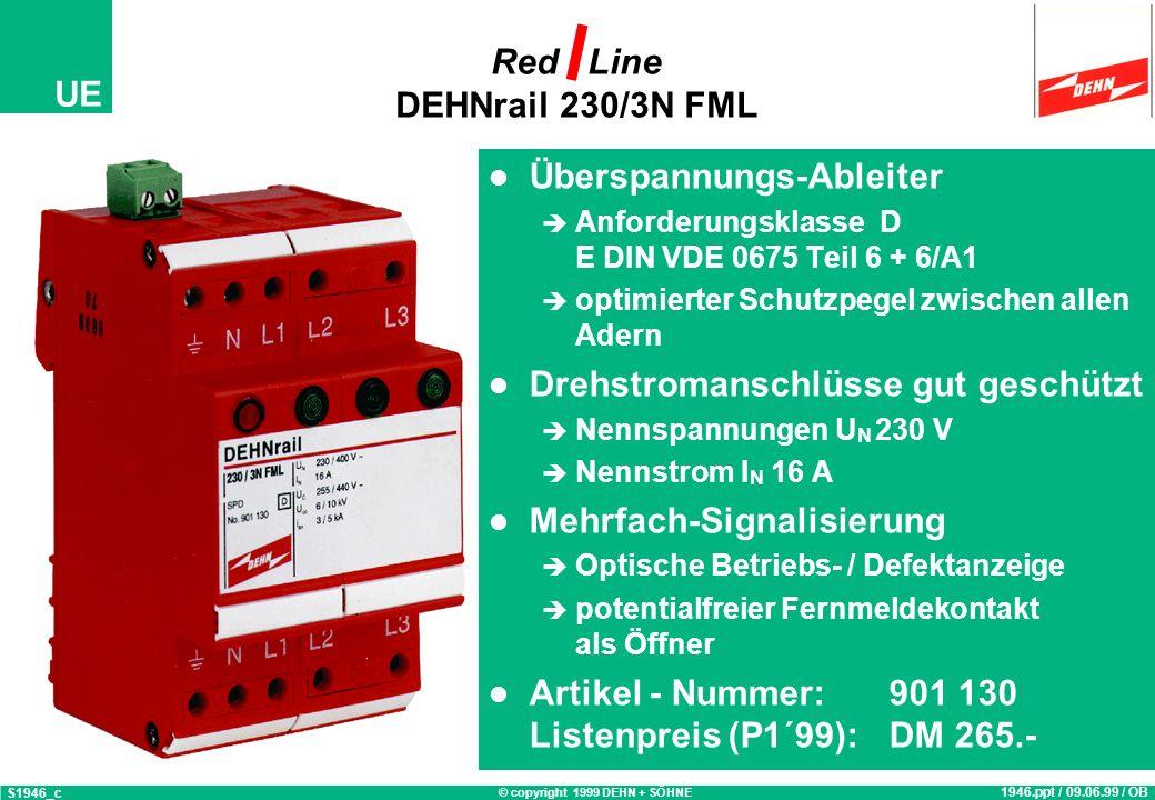 © copyright 1999 DEHN + SÖHNE UE Red Line DEHNrail Überspannungs-Ableiter Anforderungsklasse D E DIN VDE 0675 Teil 6 + 6/A1 optimierter Schutzpegel zw