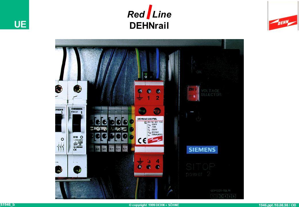 © copyright 1999 DEHN + SÖHNE UE Red Line DEHNrail 230/3N FML Überspannungs-Ableiter Anforderungsklasse D E DIN VDE 0675 Teil 6 + 6/A1 optimierter Sch