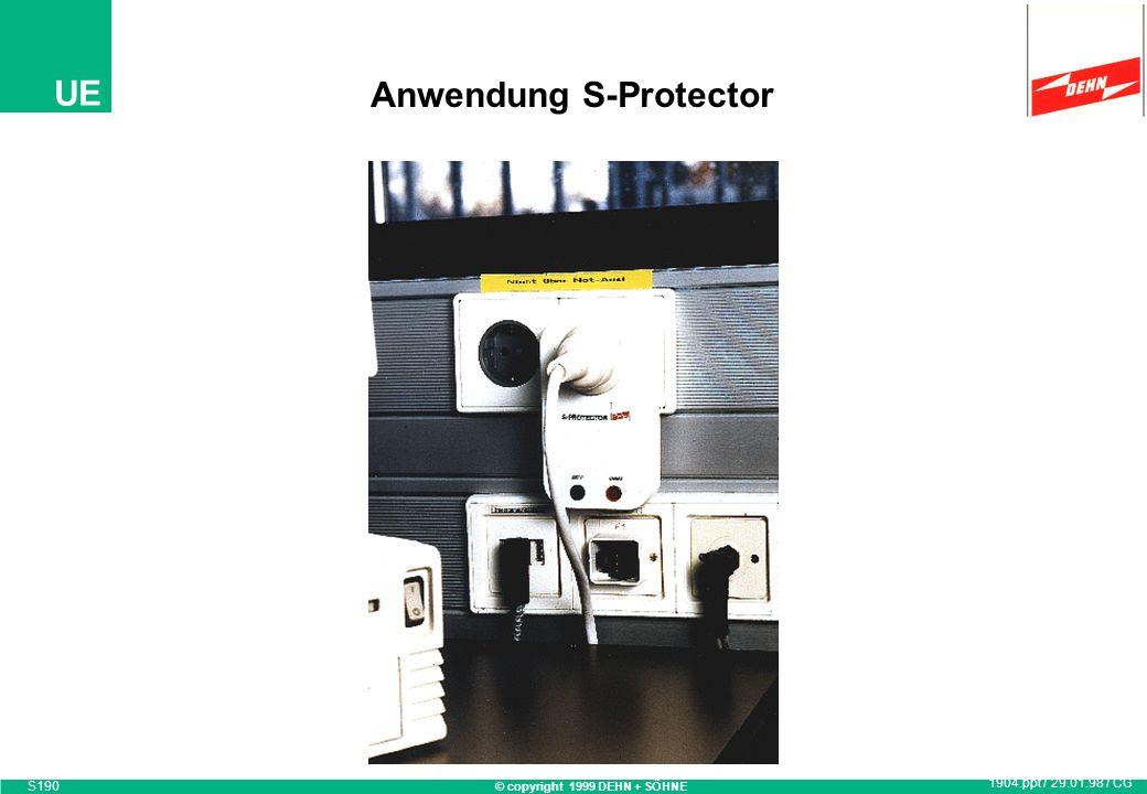 © copyright 1999 DEHN + SÖHNE UE S-Protector Überspannungsschutz-Adapter Anforderungsklasse D Nennstrom 16 A optische Betriebs- und Überlastungsanzeig