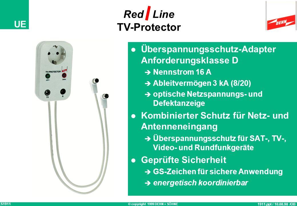 © copyright 1999 DEHN + SÖHNE UE HAK HAK TV-Protector Überspannungsschutz eines Fernsehgerätes 352.ppt / 23.01.98 / OB S352 kWh L N PE vom EVU Verteil