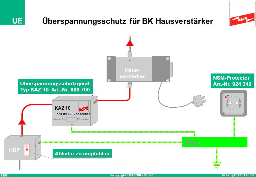 © copyright 1999 DEHN + SÖHNE UE Überspannungsschutz für Satelliten und terrestische Empfangs-Antennen Anlagen 829.ppt / 23.01.98 / OB S829 TV-Protect
