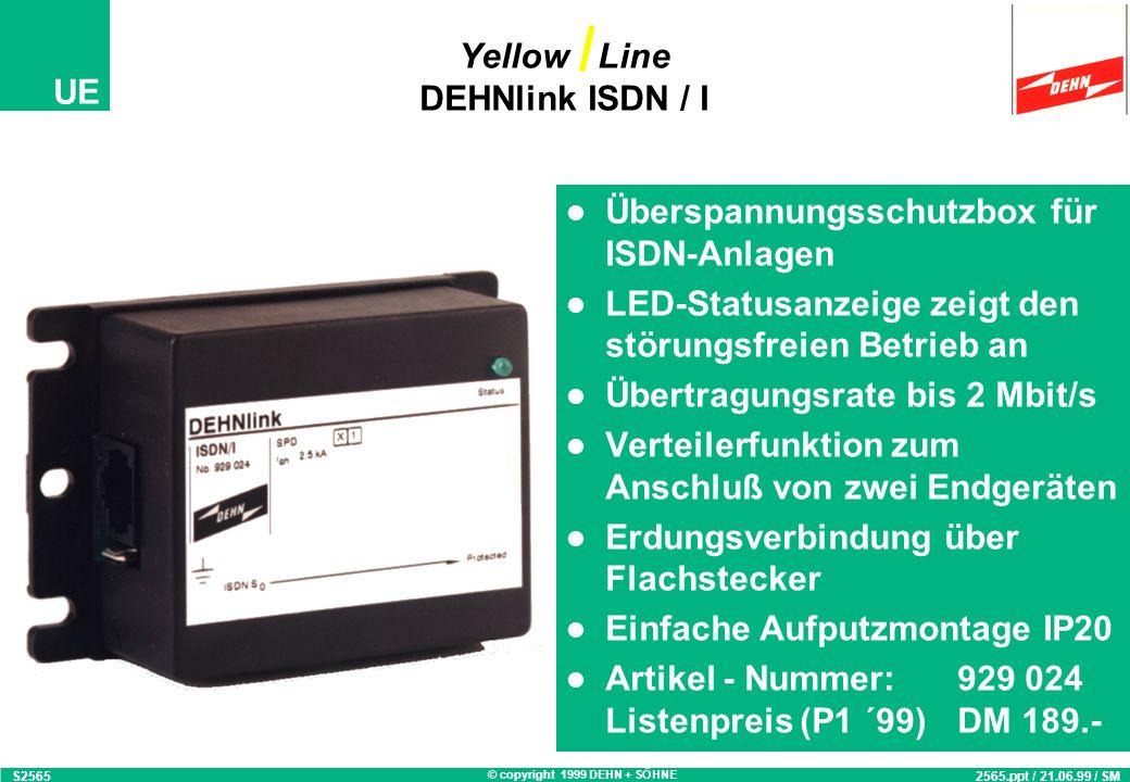 © copyright 1999 DEHN + SÖHNE UE Überspannungsschutz-Adapter mit geschirmten RJ45 Buchsen zum Endgeräteschutz Einsatz für TELEKOM Schnittstelle ISDN S