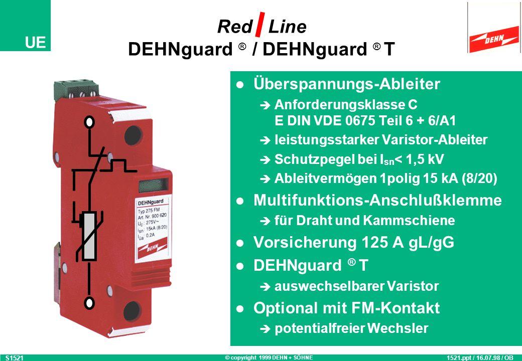 © copyright 1999 DEHN + SÖHNE UE Yellow Line ISDN-Protector Überspannungsschutz-Adapter Anforderungsklasse D Nennstrom 16 A Ableitvermögen 3 kA (8/20) optische Netzspannungs- und Defektanzeige Kombinierter Schutz für Netz- und ISDN S 0 -Bus 2 Ausgangsbuchsen zum Anschluß von von zwei Endgeräten Geprüfte Sicherheit GS-Zeichen für sichere Anwendung energetisch koordinierbar S19611961.ppt / 06.05.98 / OB