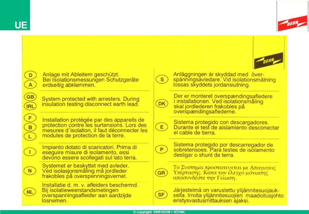 © copyright 1999 DEHN + SÖHNE UE Ableiter derAnforderungen an Ableiter entsprechend Anforderungs- klasseSchutzpegelBelastbarkeit D D Ableiter zum ortsver-entsprechendentsprechend änderlichen Einsatz an E DIN VDE 0675-6/A1E DIN VDE 0675-6/A1 Steckdosen nachTabelle 7 bzw.Wellenform 8/20 µs DIN VDE 0100-534/A1 DIN VDE 0110, min.