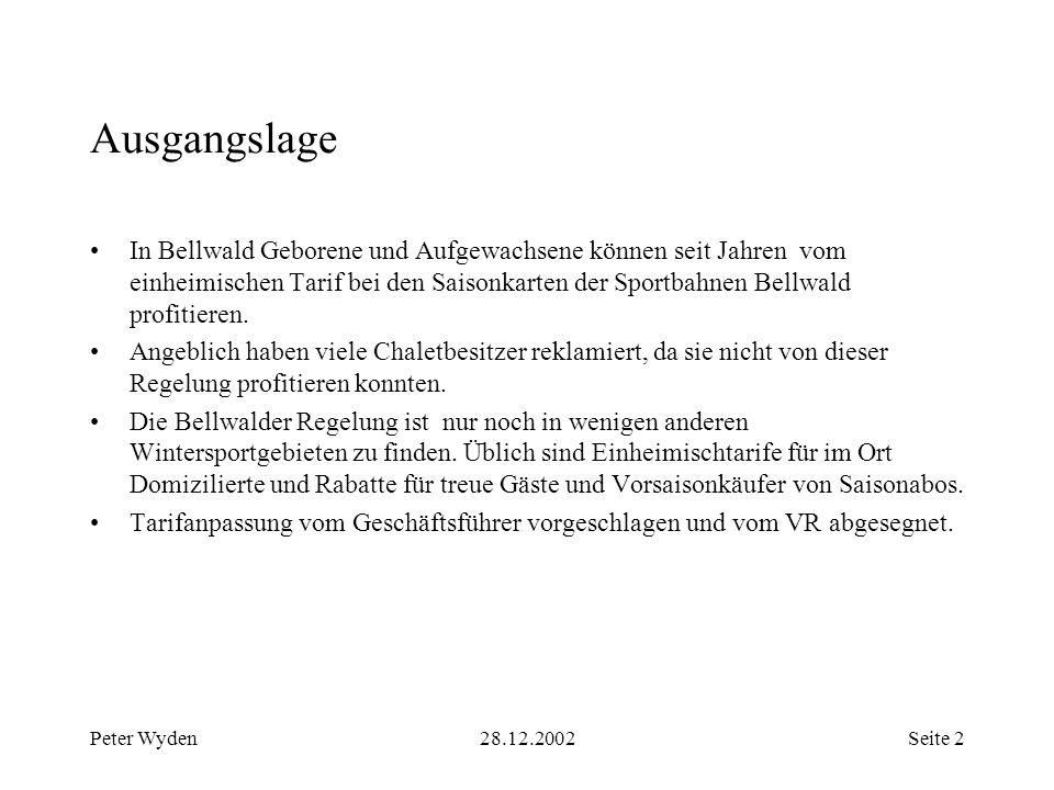 Peter Wyden28.12.2002Seite 2 Ausgangslage In Bellwald Geborene und Aufgewachsene können seit Jahren vom einheimischen Tarif bei den Saisonkarten der Sportbahnen Bellwald profitieren.