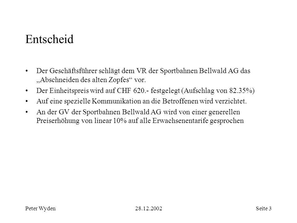 Peter Wyden28.12.2002Seite 3 Entscheid Der Geschäftsführer schlägt dem VR der Sportbahnen Bellwald AG das Abschneiden des alten Zopfes vor.