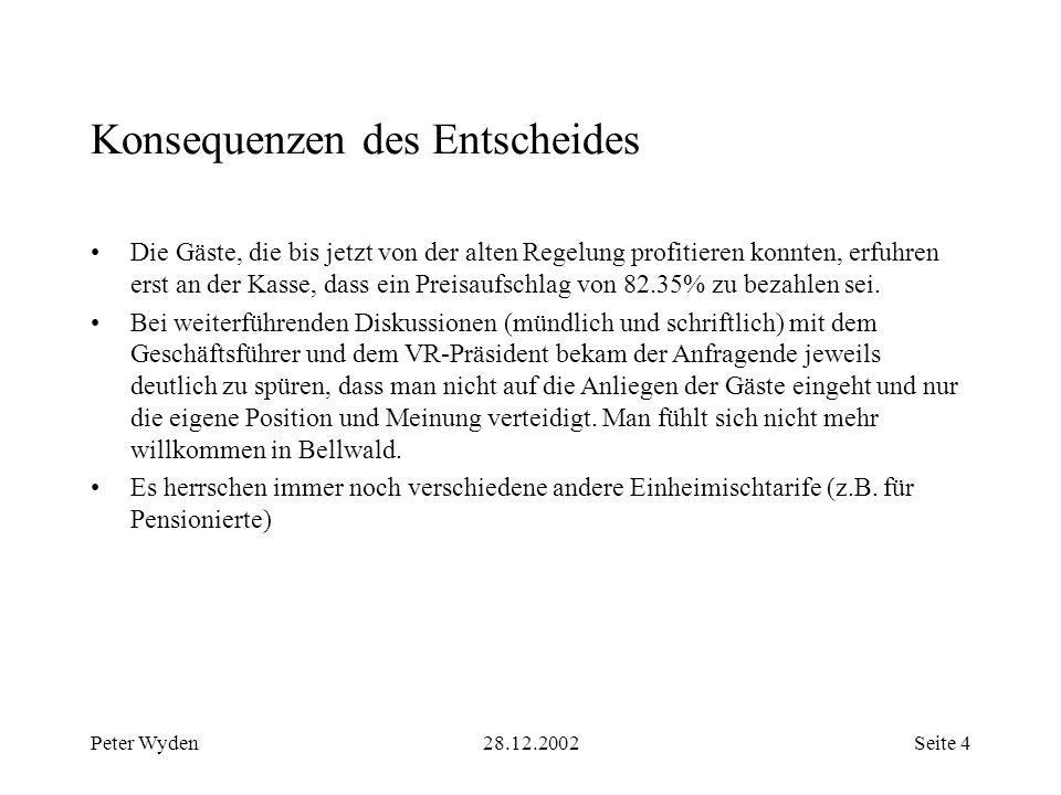 Peter Wyden28.12.2002Seite 5 Auswirkungen immateriell Gäste fühlen sich in ihrem Heimatort Bellwald nicht mehr willkommen.