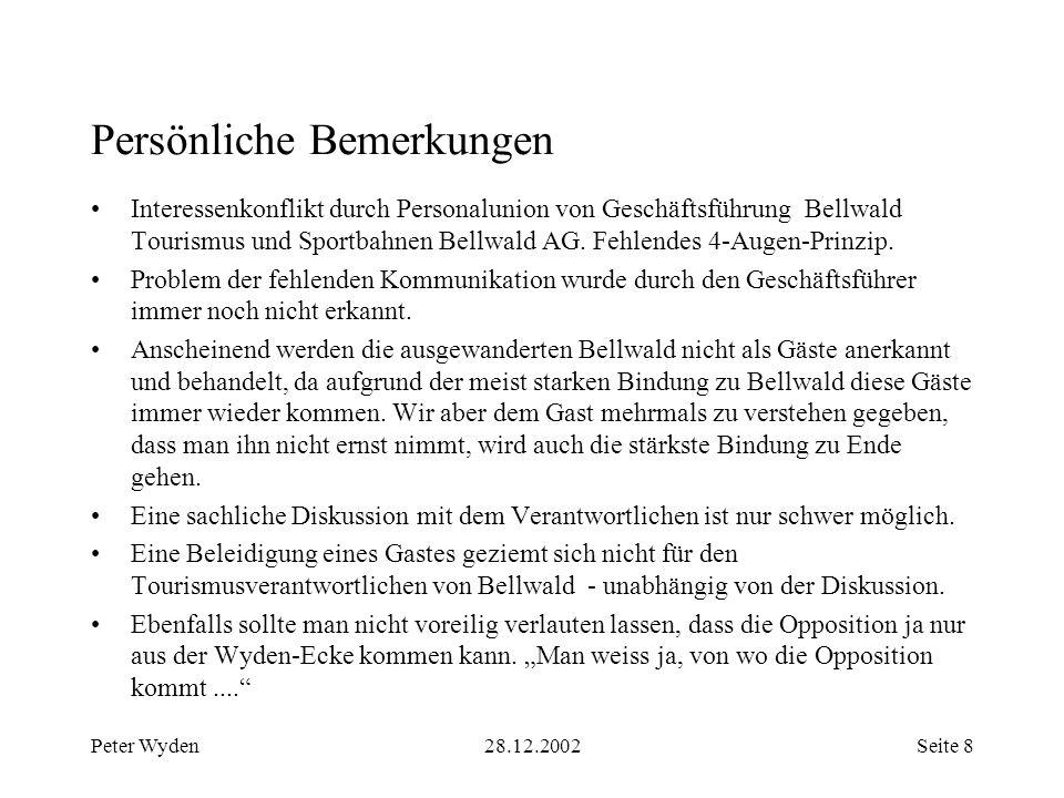 Peter Wyden28.12.2002Seite 9 Anhang 1: Berechnungsgrundlagen